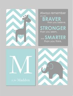 Pottery Barn Harper Nursery Aqua Teal and Gray Nursery Elephant Nursery Always by karimachal, $45.00
