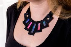 Leather statement necklace modern elegant jewelry for women Black Ribbon, Raspberry, Gifts For Her, Luxury Fashion, Black Leather, Women Jewelry, Elegant, Pendant, Blue