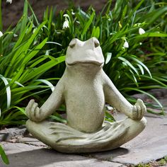 Totally Zen Too Frog Statue      This tranquil, meditating frog will add serenity to any outdoor setting. The Totally Zen Too is a smaller, lighter version of the Totally Zen Frog Garden Statue, and is sure to lighten up anyone