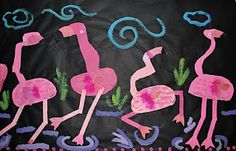 Painted paper, pastels and plumes =  Fabulous Flamingos