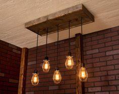 Éclairage industriel lustre industriel noir par Bornagainwoodworks