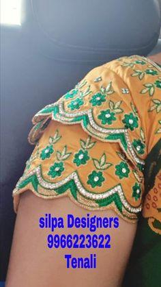 Saree Jacket Designs, Pattu Saree Blouse Designs, Best Blouse Designs, Blouse Back Neck Designs, Maggam Works, Designer Blouse Patterns, Blouse Models, Lace Dress With Sleeves, Hand Designs