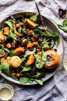 Cranberry Roasted Butternut Persimmon Salad – topped with fried goat cheese! Yep, as far as holiday salads go, this is the one! Winter Salad Recipes, Fall Recipes, Fried Goat Cheese, Salad Topping, Half Baked Harvest, Vegetarian Dinners, Vegetarian Food, Roasted Butternut, Salad Ingredients