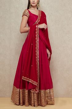 Buy Red Color Mirror Work Lehenga by Akanksha Singh at Fresh Look Fashion Long Anarkali Gown, Long Gown Dress, Lehnga Dress, The Dress, Silk Anarkali Suits, Indian Gowns Dresses, Indian Fashion Dresses, Dress Indian Style, Pakistani Dresses