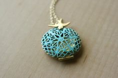 Blue locket necklace with bird teal turquoise blue gold by opalj, $28.00