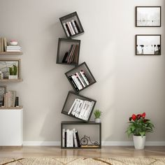 This Floating Cube Bookcase adds both stylish look and function to your living room, office, and bedroom. You can choose to assemble 3 shelves, 4 shelves or 5 shelves as desired. Flexible design easily meets your different demands. Bookshelf Design, Wall Shelves Design, Bookshelf Decorating, Decorating Ideas, Shelving Solutions, Rack Solutions, Unique Shelves, Cube Bookcase, Shelves In Bedroom