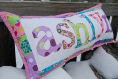 Quilted Name Pillow - QUILTING hopefully ill get a sewing machine for christmas and i can start making these! Quilted Name Pillow - QUILTING hopefully ill get a sewing machine for christmas and i can start making these! Personalized Gifts For Kids, Diy Baby Gifts, Personalized Pillows, Kids Gifts, Diy Sewing Projects, Quilting Projects, Sewing Crafts, Sewing Ideas, Love Sewing
