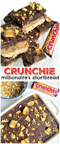 With a moreish shortbcake layer on the base, paired with homemade caramel, and topped with a thick layer of chocolate - Crunchie Millionaire's Shortbread! Yummy Treats, Sweet Treats, Yummy Food, Delicious Desserts, Fun Desserts, Caramel Shortbread, Shortbread Bars, Homemade Chocolate, Homemade Toffee