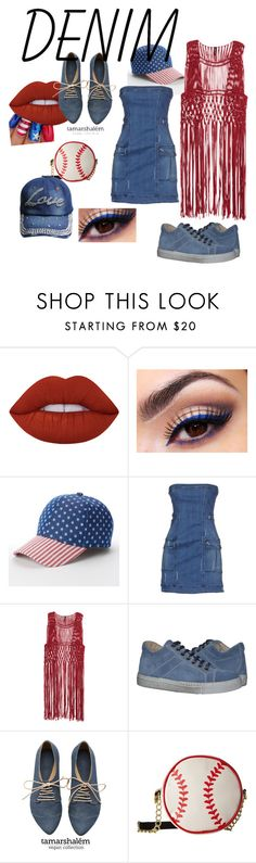 """""""USA Charme"""" by arts22 ❤ liked on Polyvore featuring Lime Crime, Lancôme, SONOMA Goods for Life, Pierre Balmain, Betsey Johnson and Denimondenim"""