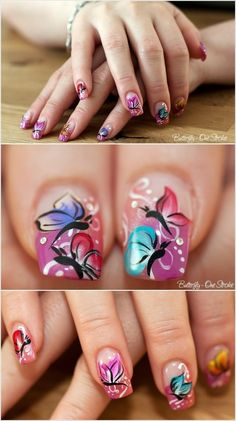 This time we decided to share with you 16 butterfly nail designs. Butterfly nail art is very popular. You can use any imaginable combination of colors and can get very creative with the wings shapes. Butterfly Nail Designs, Butterfly Nail Art, White Butterfly, Nail Polish Designs, Cute Nail Designs, Pretty Designs, Hot Nails, Hair And Nails, Fancy Nails