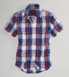 AE Plaid Short Sleeve Button-Down... Want: make that NEED! #AmericanEagle