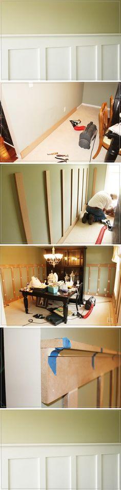 American-style three-dimensional decoration DIY wall MDF로 원목느낌의 벽 만들기 DIY