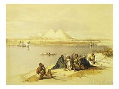 The Pyramids at Giza, Egypt, Lithograph, 1838-9