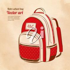 School bag on vintage background. Vector illustration.