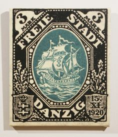 1921 hanseatic trading ship from danzig postage stamp enlarged on canvas