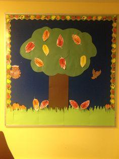 My preschool Bulletin board for October/Fall  Handprint leaves