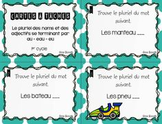 Voici un ensemble de 27 cartes à tâches sur le pluriel des noms et des adjectifs se terminant par au, eau, eu. Corrigé inclus. French Teaching Resources, Teaching French, First Year Teaching, French Grammar, Grammar And Vocabulary, Class Activities, Literacy Centers, Task Cards, Elementary Schools