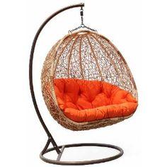outdoor wicker swing chair.