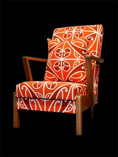 orange-chair-borrowed-earth Polynesian Designs, Polynesian Art, Maori Designs, Upcycled Furniture, Cool Furniture, Maori Patterns, 2017 Decor, New Zealand Art, Nz Art