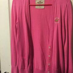 Hollister Cardigan Pink cardigan, long sleeves, pockets on both sides, green Hollister logo, soft Hollister Sweaters Cardigans