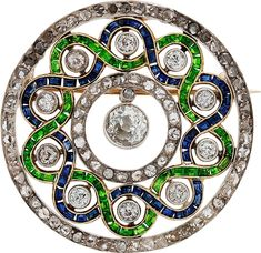 Diamond, Sapphire, Garnet, Platinum-Topped Gold Brooch, circa 1900
