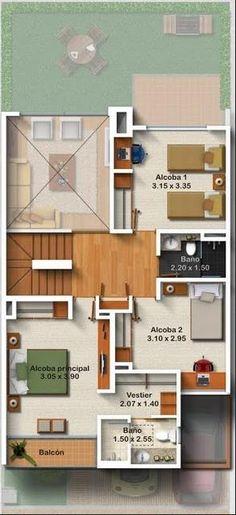 Plano de casa de 3 pisos