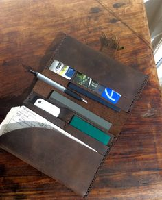 Getaway travel wallet handmade leather by LUSCIOUSLEATHERNYC