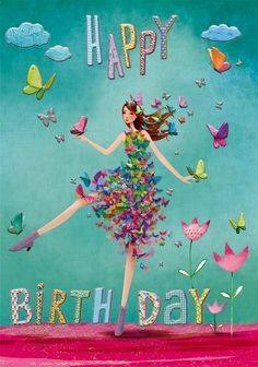 Happy Birthday card by Mila Marquis Happy Birthday Wishes Cards, Happy Birthday Flower, Birthday Blessings, Happy Birthday Pictures, Birthday Wishes Quotes, Birthday Cards, Happy Birthday Marina, Happy Belated Birthday, Happy Birthday Illustration
