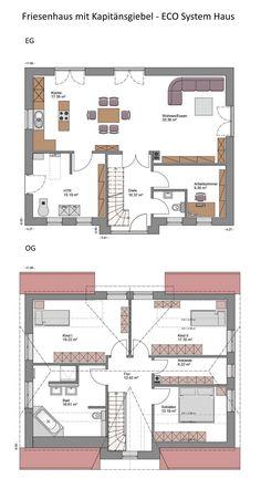 Grundriss Einfamilienhaus Landhaus - 5 Zimmer, 173 qm Wfl., Erdgeschoss Küche offen, Obergeschoss - Haus Grundrisse Massivhaus Friesenhaus mit Kapitänsgiebel ECO System Haus - HausbauDirekt.de