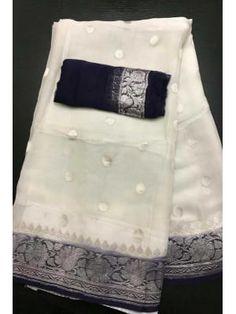 Buy Banarasi khaddi chiffon saree in White Chiffon Saree, Organza Saree, Tussar Silk Saree, Georgette Sarees, Cotton Saree, Lehenga Saree, White Saree, Blue Saree, Saree Floral
