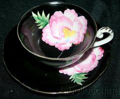 Shafford Japan Tea Cup and Saucer HPT Pink Floral Shiney Black Gold Gilt Teacup #Shafford