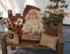 The Olde Country Cupboard: July 2009 Primitive Christmas Decorating, Primitive Country Christmas, Rustic Christmas, Vintage Christmas, Primitive Santa, Primitive Crafts, Merry Christmas, Christmas Love, All Things Christmas