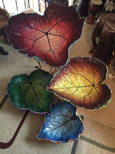 Colorful cascading leaf fountain, cast in concrete?awesome Cement rheubarb leaf hand painted by Barbara. Painting Cement, Cement Art, Concrete Crafts, Concrete Art, Concrete Projects, Concrete Bird Bath, Concrete Garden, Concrete Planters, Concrete Leaves