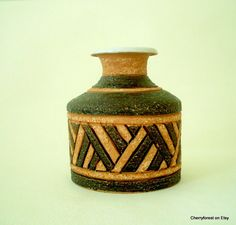 Italian art-ceramic bottle vase with deeply incised pattern. Bitossi,  Italy Mid Century modern. by Cherryforest on Etsy