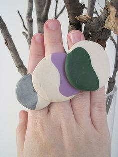 CUSTOM Pebble sculpted clay ring on antique brass by sweetstellas, $25.00