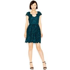 Betsey Johnson Cap-Sleeve Lace Party Dress ($126) ❤ liked on Polyvore featuring dresses, green, blue dress, night out dresses, blue lace cocktail dress, lace cocktail dress en blue green dress