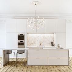 House white modern minimal kitchen Ideas for 2019 Kitchen Island With Sink, Grey Kitchen Cabinets, Kitchen Countertops, Kitchen White, Kitchen Colors, Kitchen Decor, Kitchen Ideas, Küchen Design, House Design