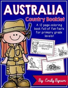 """This """"All About Australia"""" booklet can be used for a very basic country study in lower elementary grades! Each page contains a fact and related illustration. All graphics are in an outline format so that it's ready to be colored like a mini-coloring book.This coloring booklet gives all the general/basic information about Australia, including:-geography-Australian flag-Sydney (largest city)-the Outback -The Great Barrier Reef-kangaroos-rainforests-surfing-common lingo-blank page for favorite…"""