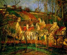 """""""Red Roofs, Corner of a Village, Winter""""  --  1877  --  Camille Pissarro  --  French  --  Oil on canvas  --  Musée d'Orsay, Paris."""
