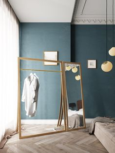 FRAMED, the cloth rack by Nordic Tales creates the perfect balance between functional storage and Nordic aesthetics, and frames your favorite outfits in a beautiful and functional way! Find out more. Nordic Interior, Interior And Exterior, Nordic Home, Small Dressing Rooms, Diy Furniture, Furniture Design, Deco Studio, Deco Originale, Shower Panels