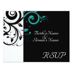 Black  White Aqua Swirl Wedding Matching RSVP Card