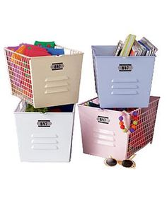 Use Colored Bins Assign a colored bin or basket to each family member to hold items they'll want to grab as they leave the house (keys, permission slips, mail, umbrellas, gloves, etc.).  Color-coded bins also work for sorting recyclables (green for glass, white for paper); instead of letting junk mail pile up, dump it directly into the appropriate bin.
