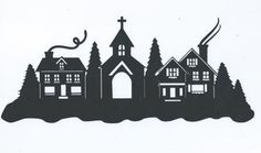 Beautiful snowy town silhouette by hilemanhouse on Etsy