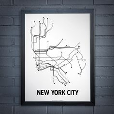 NYC Lithograph by Lineposters