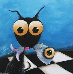 Original Fine Art Acrylic painting canvas Stressie cat black cat got the fish
