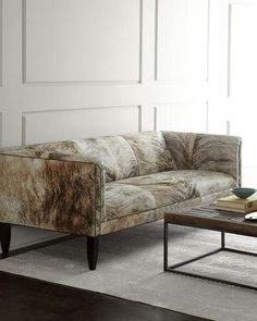 Love this sofa - hide upholstery, leather piping, tight back and seat. Old Hickory Tannery Bryson Hairhide Sofa Game Room Furniture, Furniture Making, Living Room Furniture, Furniture Ideas, Velvet Furniture, Concrete Furniture, Furniture Inspiration, Old Hickory Tannery, Chair Upholstery