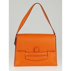 Pre-owned Hermes Orange Swift Leather Attelage II Bag (29,815 CNY) ❤ liked on Polyvore featuring bags, handbags, shoulder bags, messenger purse, leather shoulder messenger bag, hermes purse, leather shoulder handbags and genuine leather shoulder bag
