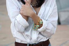 simple white button-down and jeans.