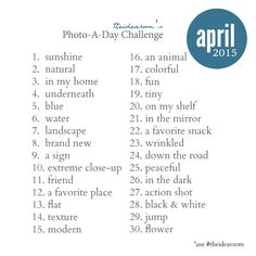 April Photo A Day Challenge 2015