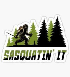 'Bigfoot Fishing Excursion' Sticker by Jackrabbit Rituals Bigfoot Toys, Bigfoot Sasquatch, Adventure Gifts, Fishing Adventure, Finding Bigfoot, Easter Stickers, Ocean Cruise, Jack Rabbit, Cryptozoology